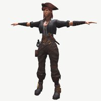 Low poly model of pirate girl(1)