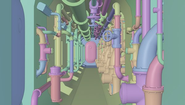 3D pipes plumbing submarine model