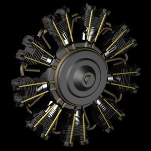 3D model 9 radial aircraft engine