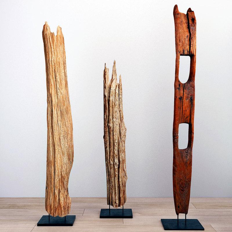 3D natura tall root wood model