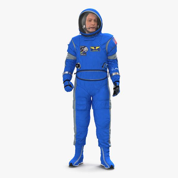 3D model astronaut wearing boeing spacesuit