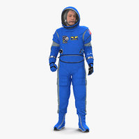 3D model astronaut wearing boeing spacesuit