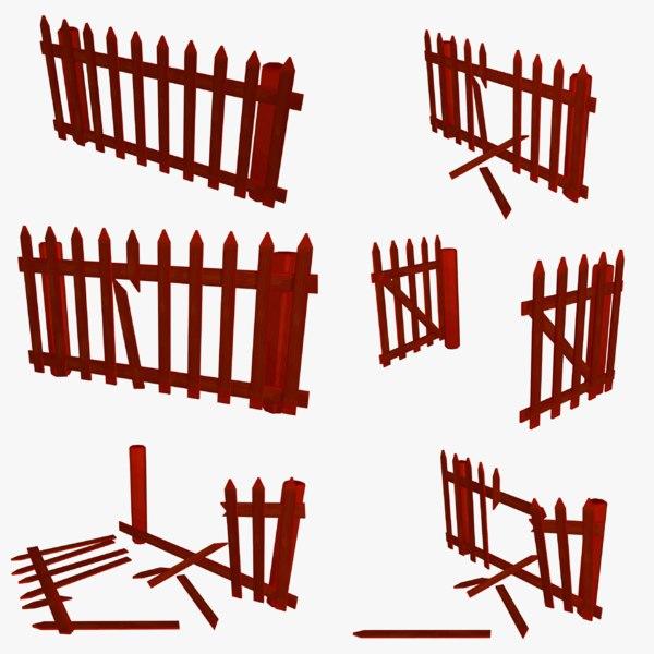 cartoon farm fence 2 3D model