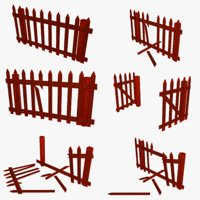 cartoon farm fence 2 3D model
