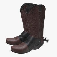 3D cowboy boots model