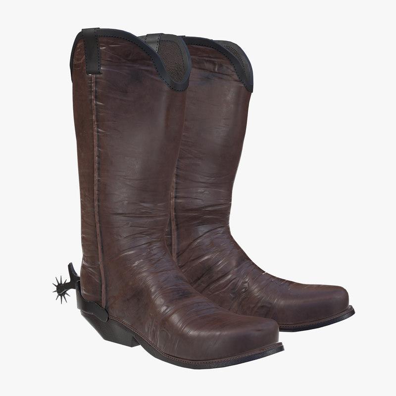 3D cowboy boots leather