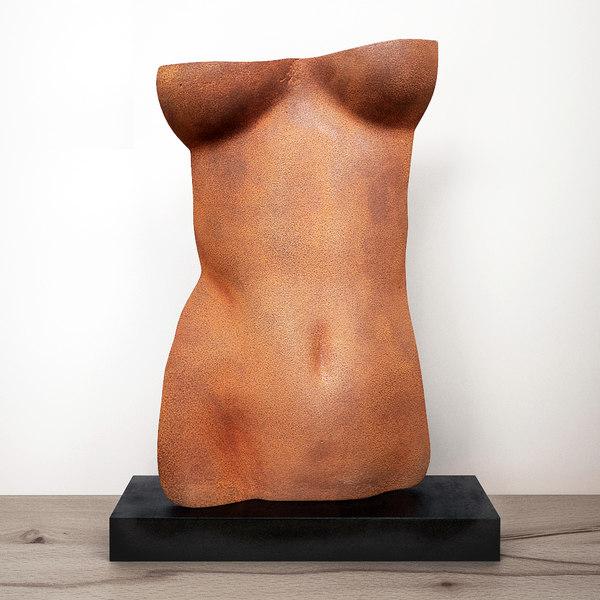3D torso sculpture gerald siciliano model