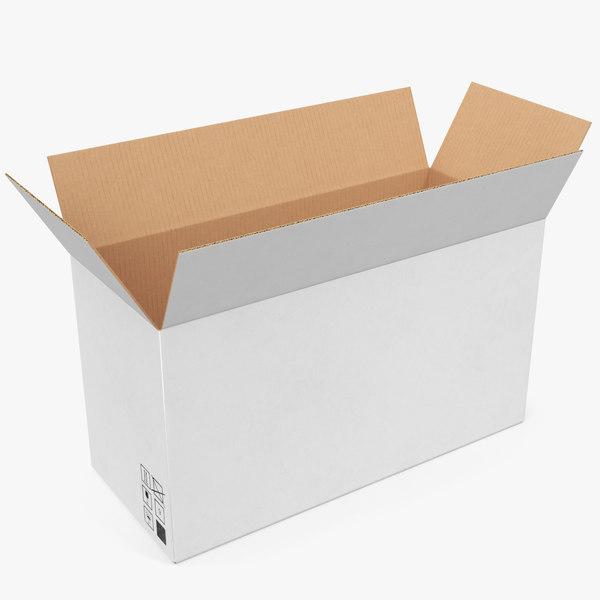 cardboard box white 01 3D