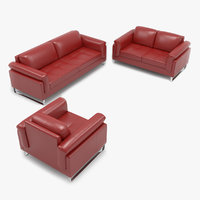 Rolled Arm Leather Sofa Set