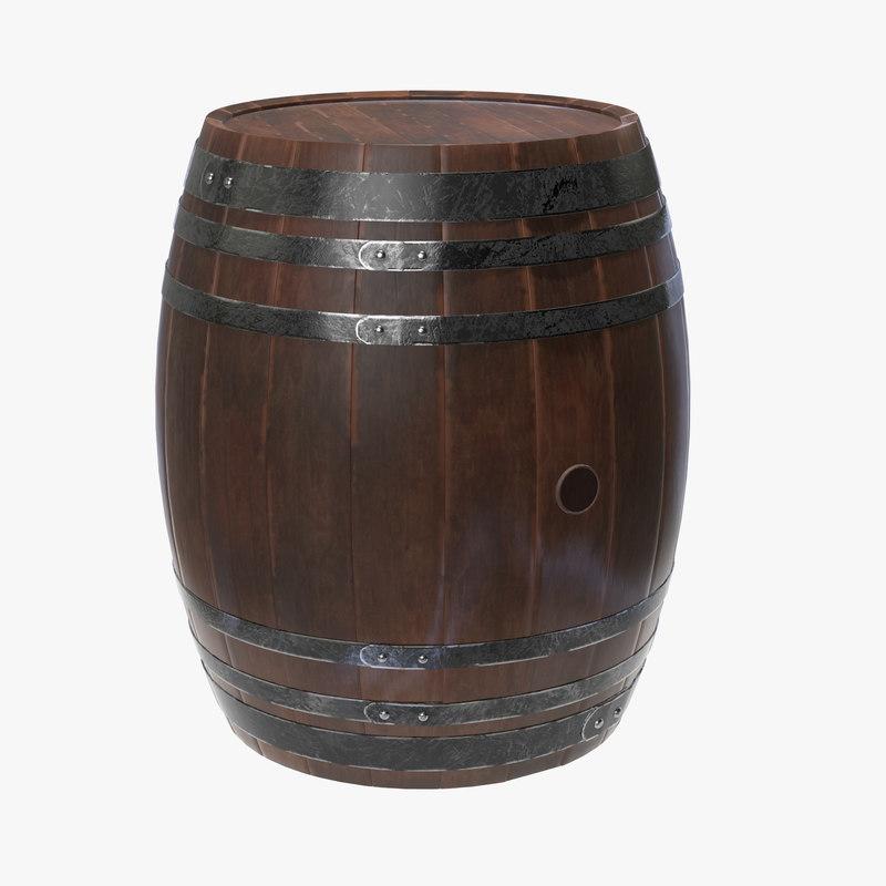 3D wooden barrel wood