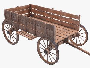 3D cart wood wooden model