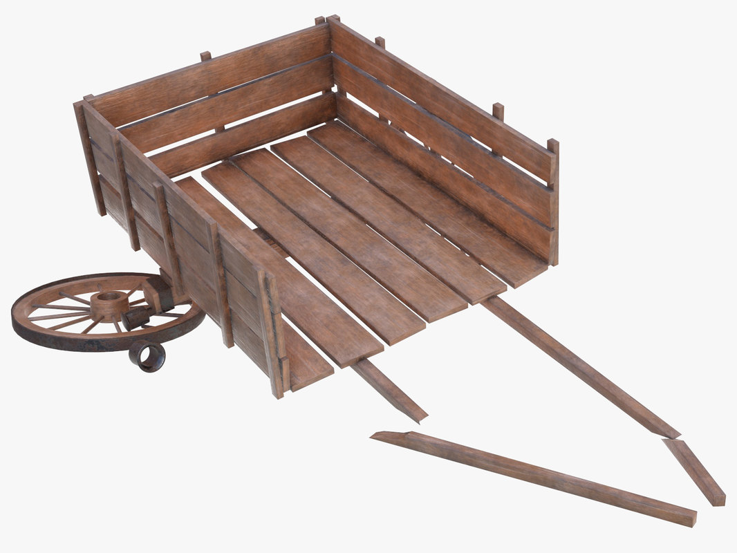 cart wood wooden 3D model