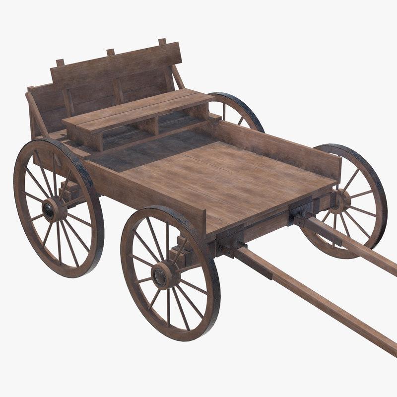 3D model cart wood wooden