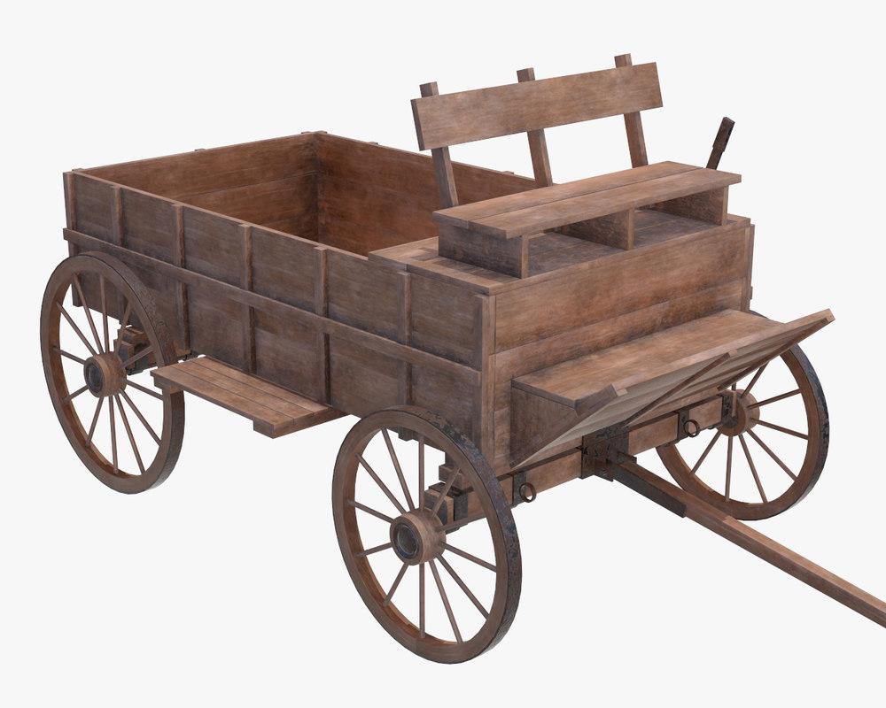 3D wagon wood wooden