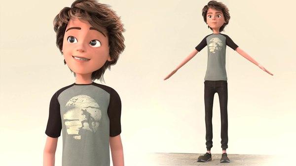 3D toon boy rigged - model