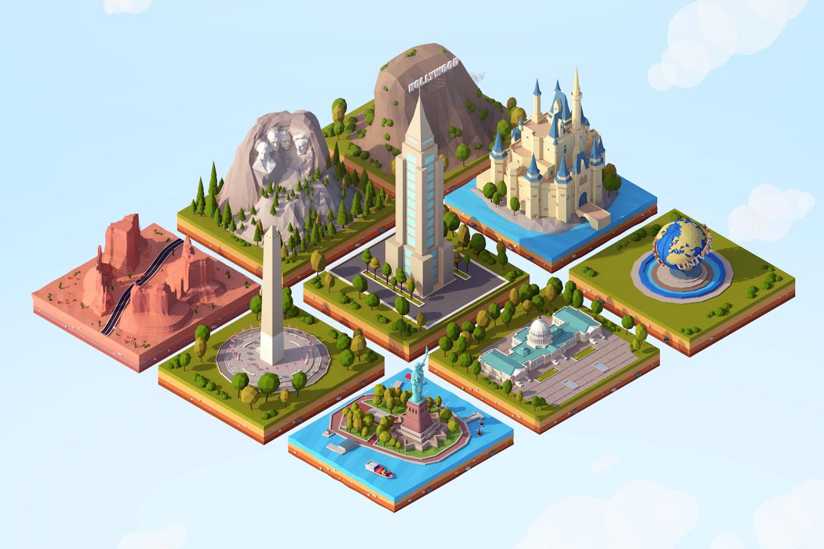 3D cartoon usa landmarks pack