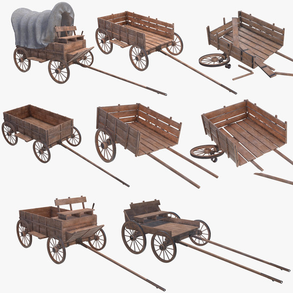 3D wagon wooden model