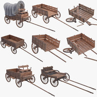 3D wagon wooden model