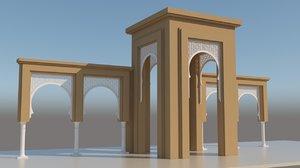 3D traditional moroccan door interior design model