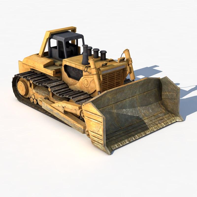 bulldozer hydraulic industrial buildings 3D