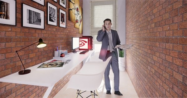 3D small office interior model