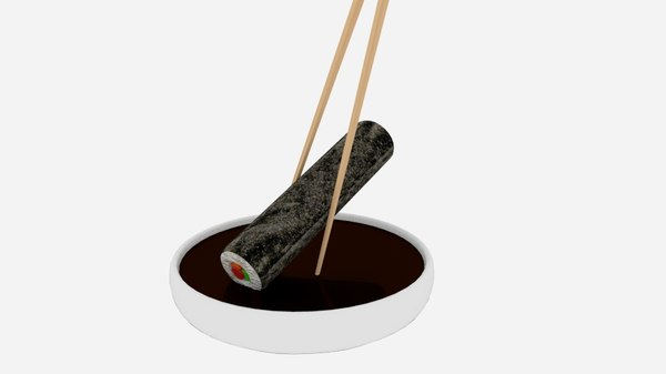 chopstick dip sushi roll 3D model