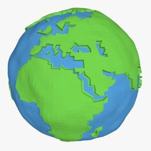 3D cartoon simple planet earth model