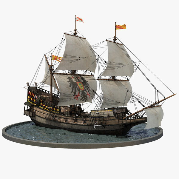 3D model galleon realistic prop