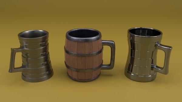 mugs cups beer 3D model