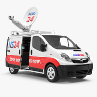 Opel Vivaro Tv News Car Rigged 3D Model