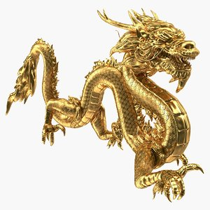 golden chinese dragon 3D