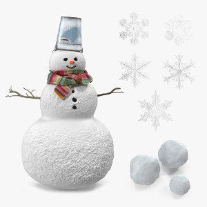 snow snowman snowflakes 3D