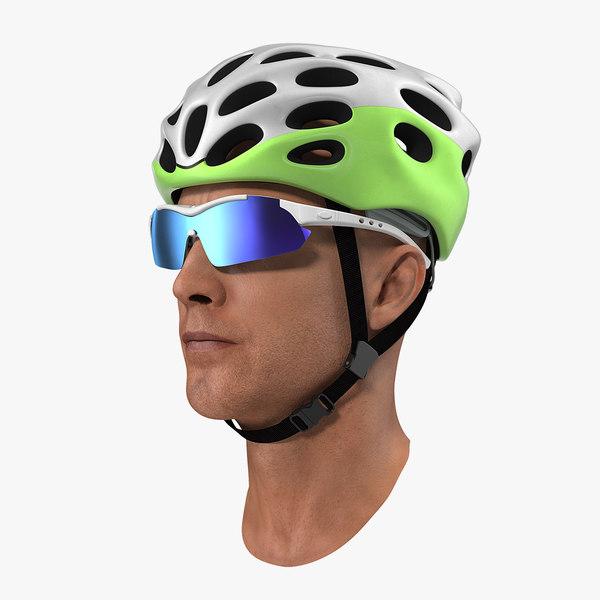 3D bicyclist head helmet glasses