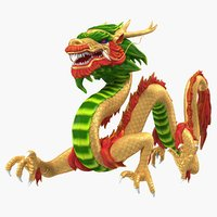 3D colorful traditional chinese dragon model