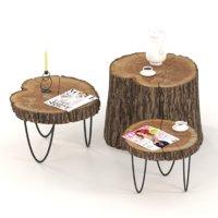 3D model slab coffee tables stump
