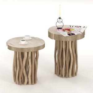 slab coffee tables wooden 3D model