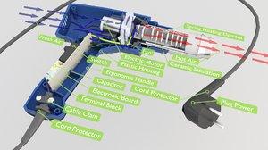interior parts gun heat 3D model