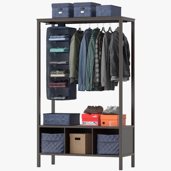 hemnes open wardrobe 3D model