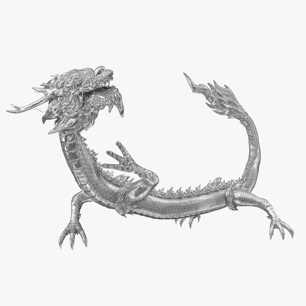silver chinese dragon rigged 3D model