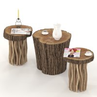 Coffee tables from stump and slab on wooden legs