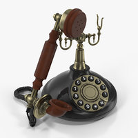3D antique 1920s telephone phones