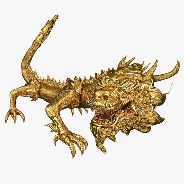 golden chinese dragon rigged 3D model