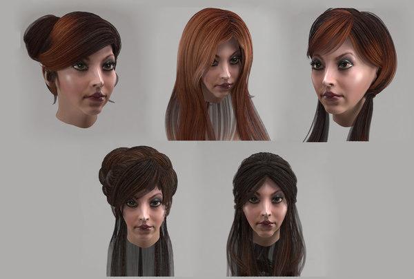 3D female hairstyles long hair model