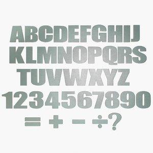3D metal alphabet letter