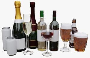 3D alcohol beverage glass
