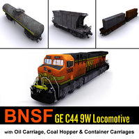 bnsf locomotive cargo carriage 3d fbx
