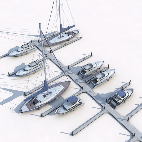 3D piers yachts model