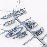 3D piers yachts model