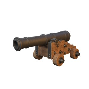 ship cannon medieval weapon model