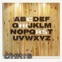 panel alphabet english 3D